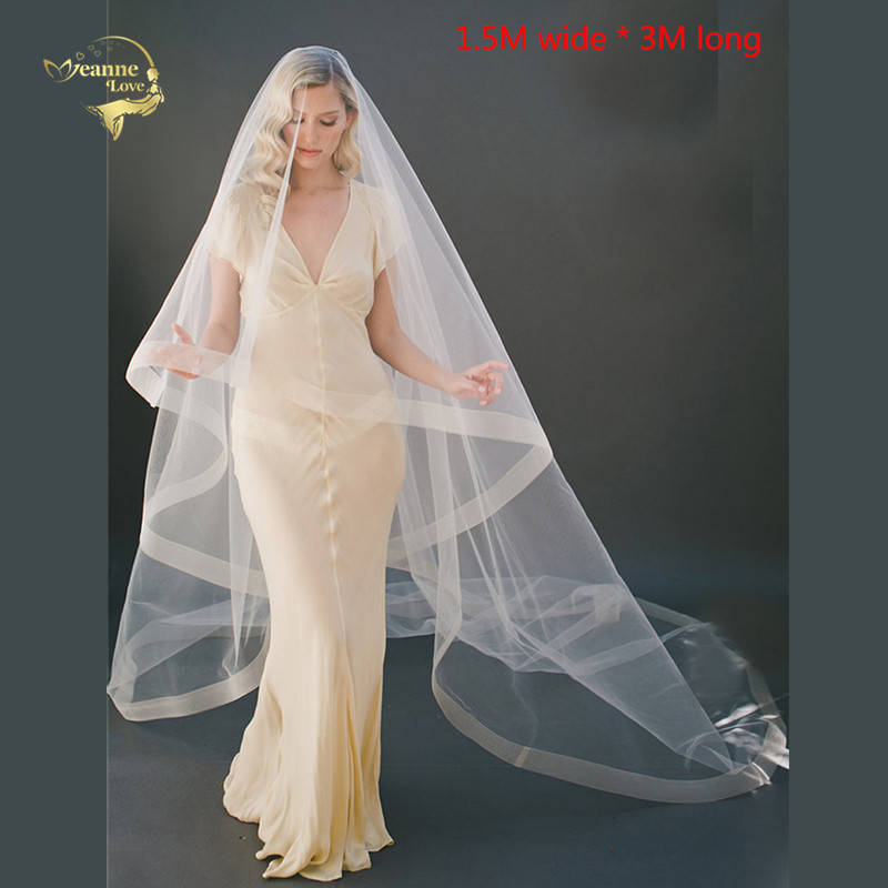 White//ivory One Layer 3m Long Cathedral applique Bridal Veil Wedding