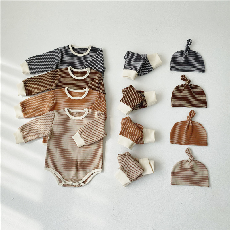 Baby Clothes Set Striped Bodysuits High Waist Pants Leggings And Hat 3 Pieces Baby Girl Clothes Cotton Toddler Boys Clothing
