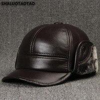 SHALUOTAOTAO Men's Cap Winter Fashion Cowhide Thermal Baseball Caps Thick Velvet Earmuffs Brands Genuine Leather Hat Dad's Hats