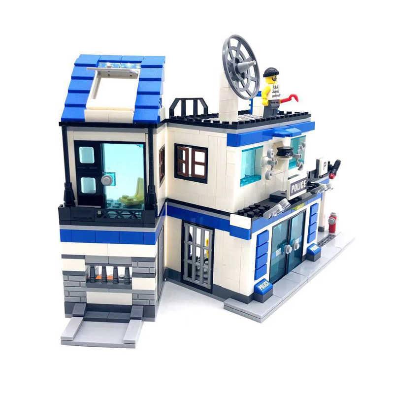 746 STUKS Swat Stad Politie Station 4IN1 SWAT Bouwstenen Compatibel Legoed Militaire WW2 Helicopter Auto Bricks Educatief Speelgoed