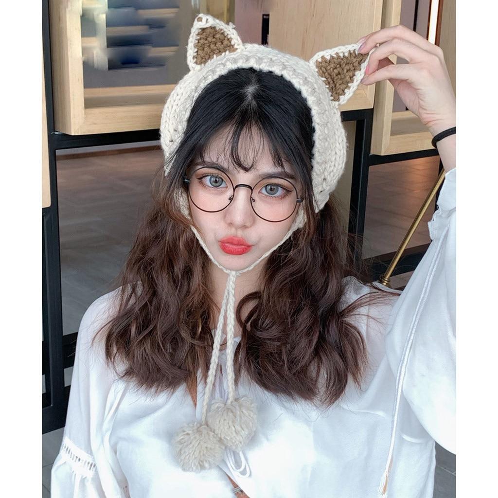 2 In 1 Scarf Earflap Winter Autumn Warm Women Plush Ear Muffs Knitting Hairwool Cute Cat Ears INS Fashion Earmuffs Accessories