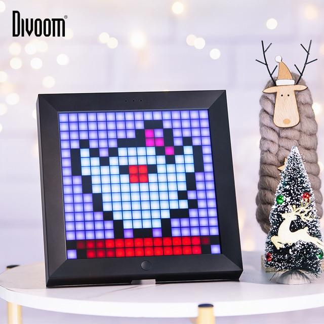 Divoom Pixoo dijital fotoğraf çerçevesi çalar saat ile piksel sanat programlanabilir LED ekran, Neon işık burcu dekor, yeni yıl hediye 2021