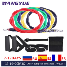 11Pcs/Set Latex Resistance Bands Gym Door Rubber Loop Tube Bands Anchor Ankle Straps With Bag Kit Set Yoga Exercise Fitness Band