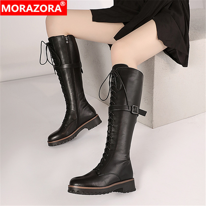 MORAZORA 2020 Big Size 34-42 Women Boots Low Heels Round Toe Fashion Lace Up Knee High Boots Winter Keep Warm Ladies Shoes