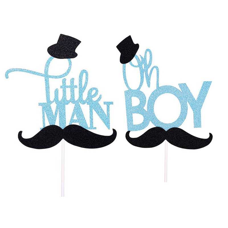 New Little Man Cake Toppers Happy Birthday Gentleman Hat Mustche Baby Shower Cake Flag Birthday Party Cake Decor