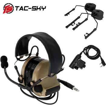 TAC-SKY COMTAC II noise reduction pickup tactical hunting shooting headset + tactical PTT U94 PTT + ARC track comtac bracket  DE tactical comtac ii anti noise sound amplification electronic noise reduction shooting headphones and tactical ptt u94 ptt de