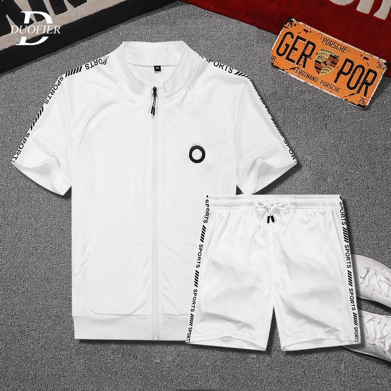 Спортивный костюм мужской летний из 2 предметов, тенниска на молнии и шорты, повседневный комплект свободного покроя для бега, одежда с прин...