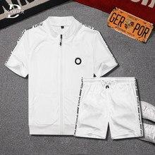 Letnie męskie zestawy na co dzień luźne nowe Jogging dres 2021 męskie ubrania sportowe Zipper Tshirts + spodenki 2 sztuk strój sportowy nadrukowana odzież