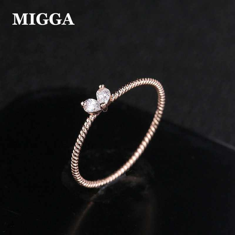 MIGGA 2019 nouveau mignon petit coeur cubique zircone anneau mode femmes filles cristal Bague couleur or blanc