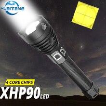 400000LM 높은 전원 XHP90 LED 손전등 usb 충전식 토치 XHP70 XHP50 랜 턴 캠핑에 대 한 26650 또는 18650 배터리 사용