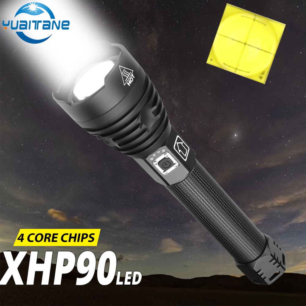 High Power Xhp90 Led Flashlight Usb Rechargeable Torch Xhp70 Xhp50 Lantern Use 26650 18650 Battery For Camping