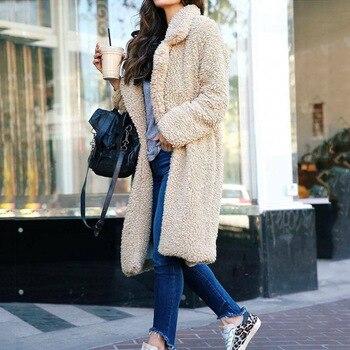 Women Winter Warm long Coat Top Ladies sleeve OL Elegant Fleece Jacket Fashion Overcoat Classic femme Streetwear