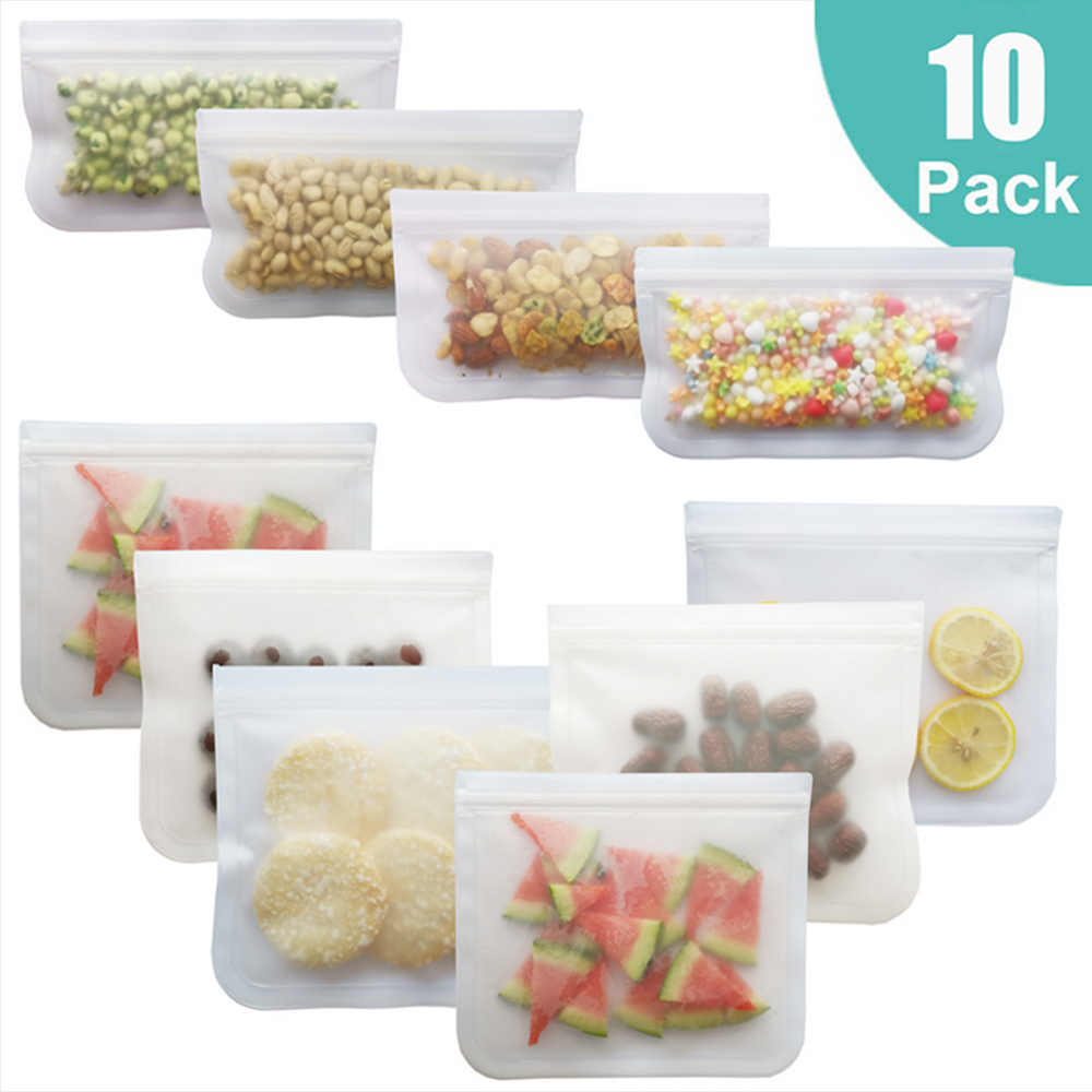 10 Pack Scrub Silicone Food Storage Bag Reusable Freezer Bag Ziplock Leakproof Top Fruits Food Fresh Bags Kitchen Organizer