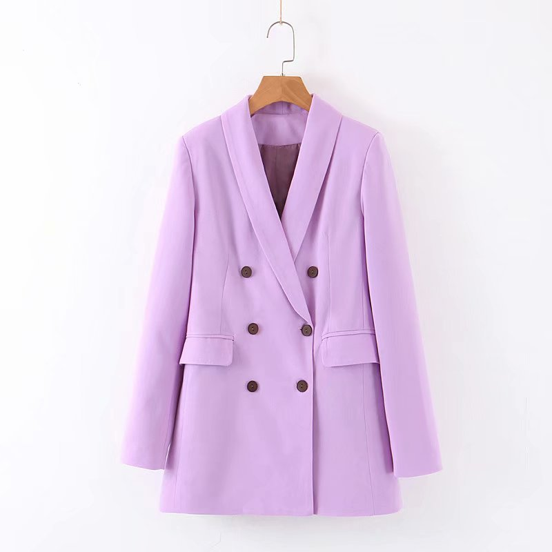 Women Purple Office Suit Blazer Korean Style Female Blazer Ladies Autumn Casual With Buttons Pockets Outwear Coats