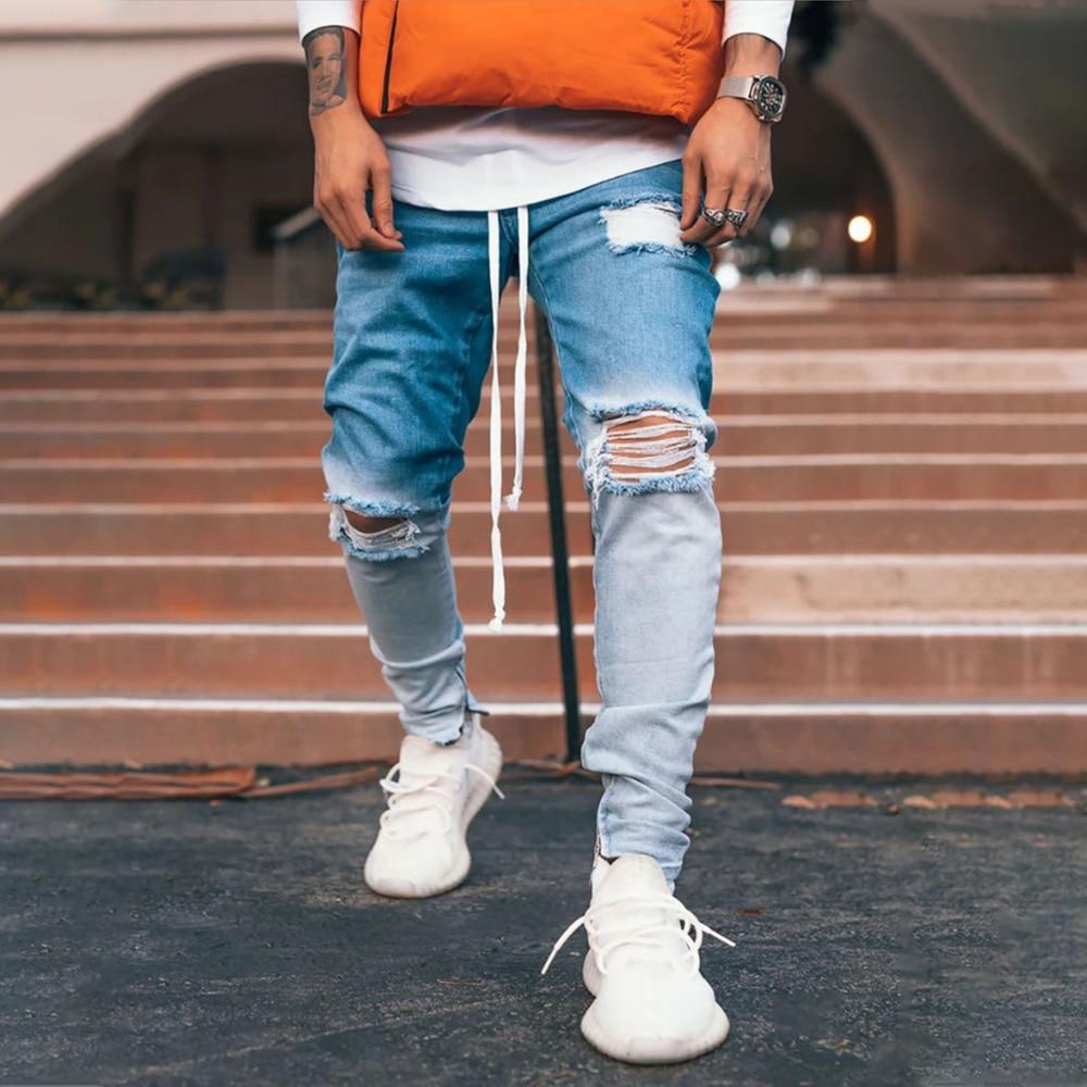 Men Hip Hop Ripped Jeans 2020 New Gradient Denim Pants Slim Fit Vintage Cowboys Trousers Male D30