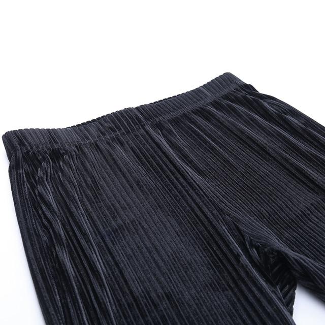 Velvet Stripe Pants in black