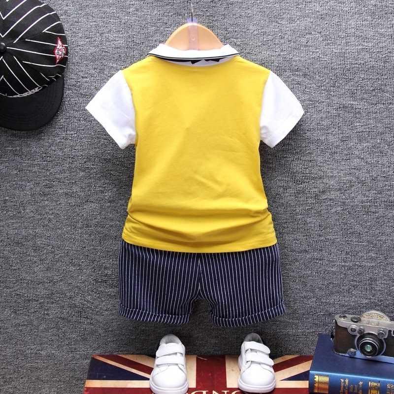 Verão algodão bebê menino conjuntos de roupas formal infantil 1 ano festa de aniversário roupas terno camiseta pant pano das crianças