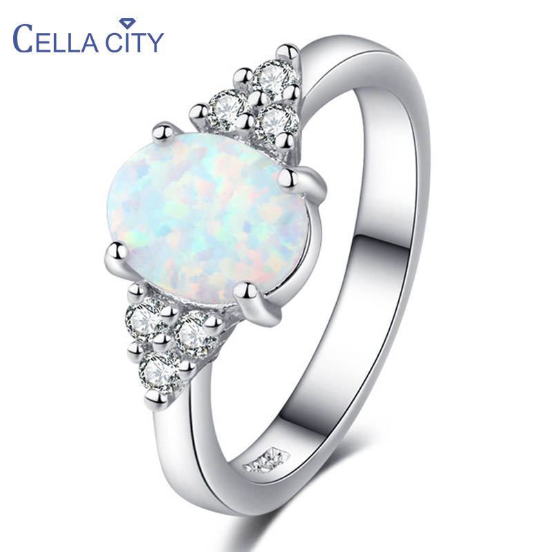 Cellacity Oval White Opal Silver 925 Jewelry Gemstones Ring for Women Geometry Design Classic Simple Female Jewelry for Dating