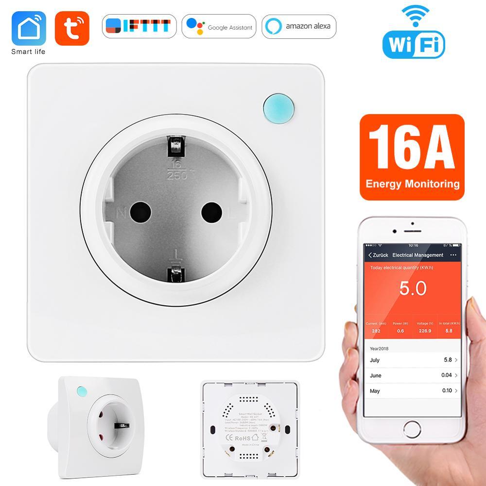 Tuya Wifi enchufe de pared inteligente 16A EU Monitor de energía WiFi enchufe de Control de aplicación de vida inteligente interruptor de enchufe eléctrico 2019 nuevo Detector de humo WIFI Tuya APP Sensor de alarma de incendios alarma de humo independiente protección Android