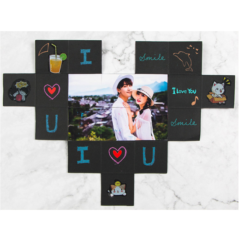 Lovely Surprise Explosion Couple Box Love Memory Diy Photo Album Anniversary Valentine's Day Girl Love Gift Scrapbook Xmas Gifts