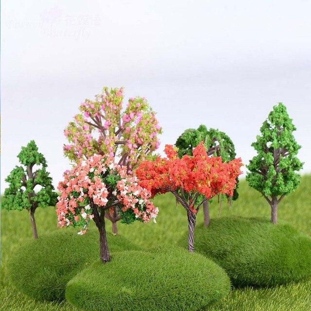 Plastic Mini Simulation Trees Kawaii Willow Sakura Mini Home Decoration Garden Microlandscape Miniatures Figurines 2