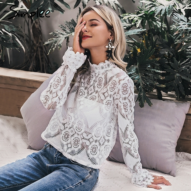 Simplee Elegant white lace blouse shirt Sexy hollow out embroidery feminine blouse Women long lantern sleeve summer tops female 1