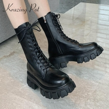 Winter Shoes Boots Krazing-Pot High-Heel Real-Leather Women Waterproof Mid-Calf Keep-Warm