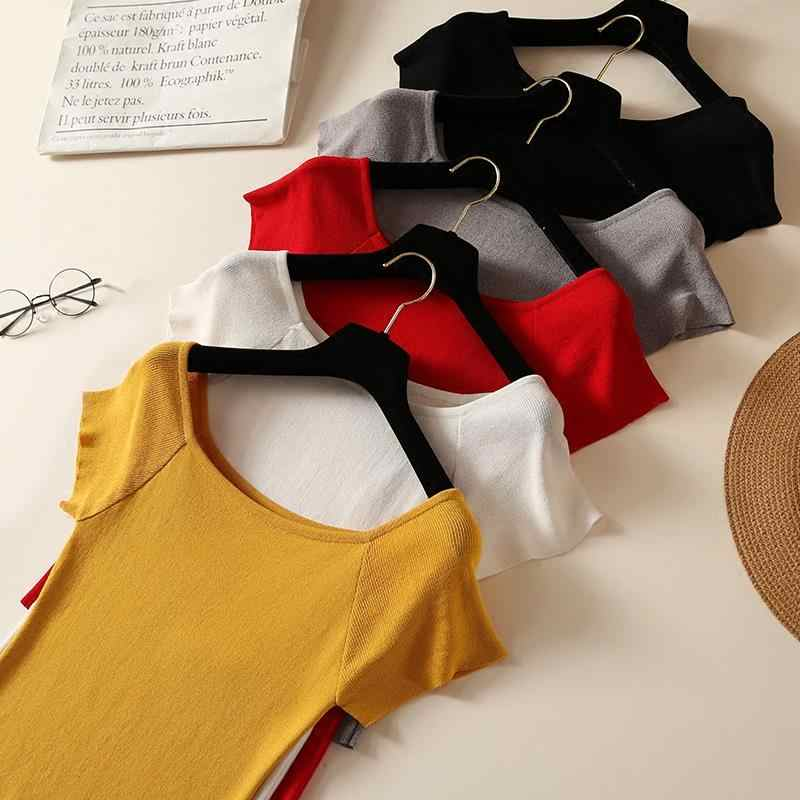 Camiseta Sexy para mujer con hombros descubiertos, ropa tejida de verano coreana, ropa de verano de manga corta, informal para mujer, Blanco, Negro, Rojo, colores sólidos