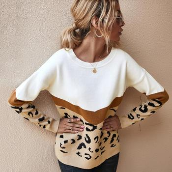 Autumn Winter Women's Sweaters 2020 O-Neck Casual Loose Knitted Top Long Sleeve Fashion Leopard Sweater Ladies Oversize Pullover недорого