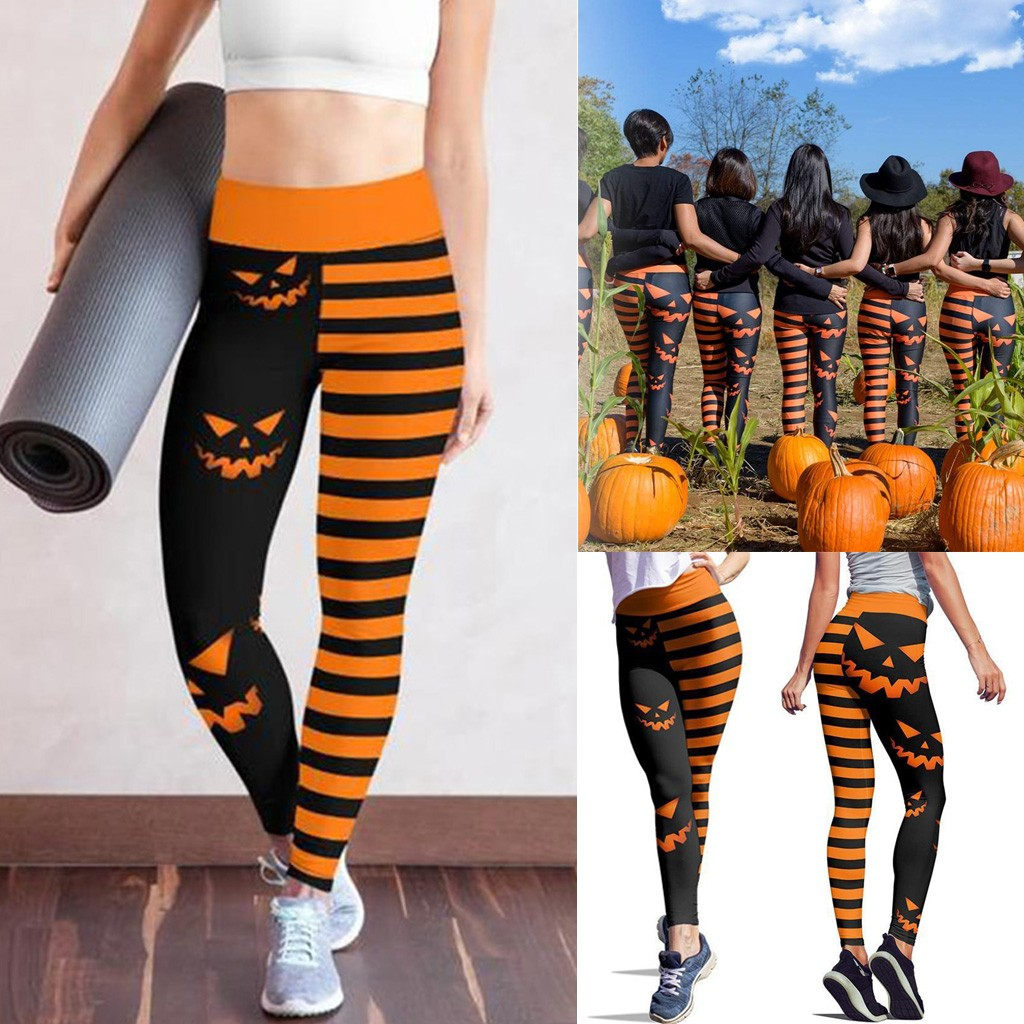 2020 Winter Women Halloween Leggings Pumpkin Hallowstripe Skinny Pants High Waist Stretch Pumpkin Slim Pencil Trousers Leggings 1