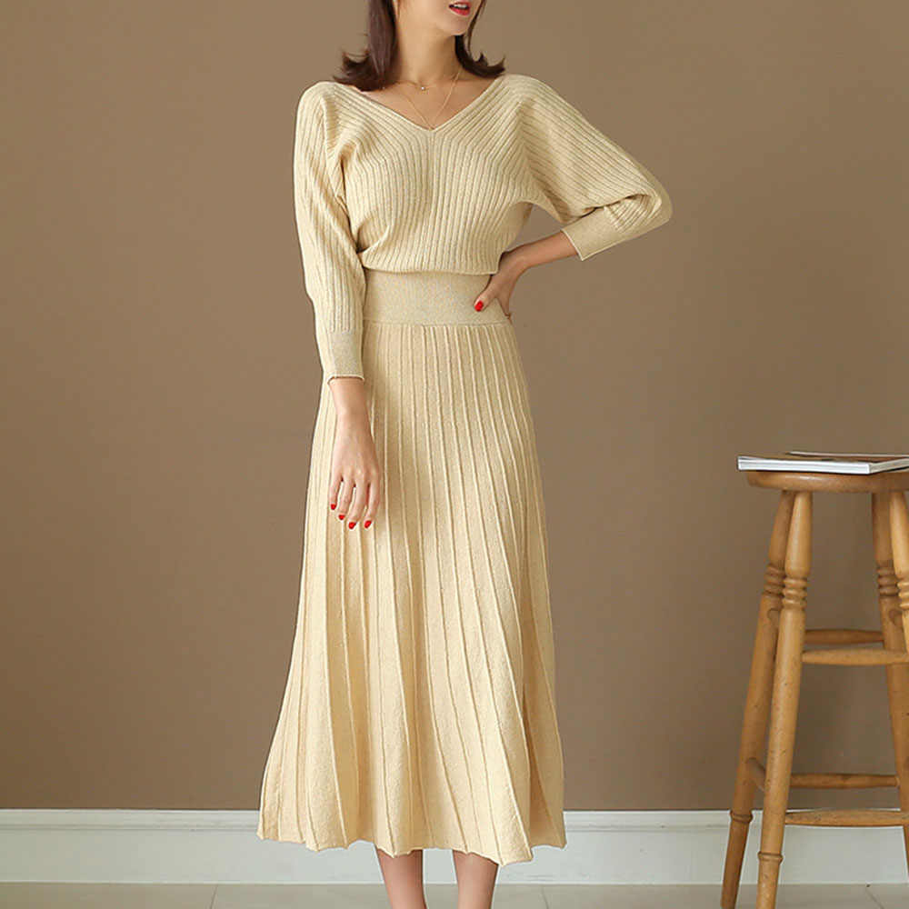 Elegant Knitted Sweater Dress Women Korean Causal Autumn Winter Noodles Elastic Long Sleeve Loose Pullover Long Dress White
