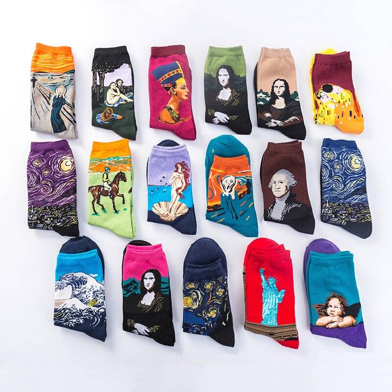 Fashion starry night winter retro female personality art Van Gogh Mona Lisa famous painting men's socks oil fun happy socks
