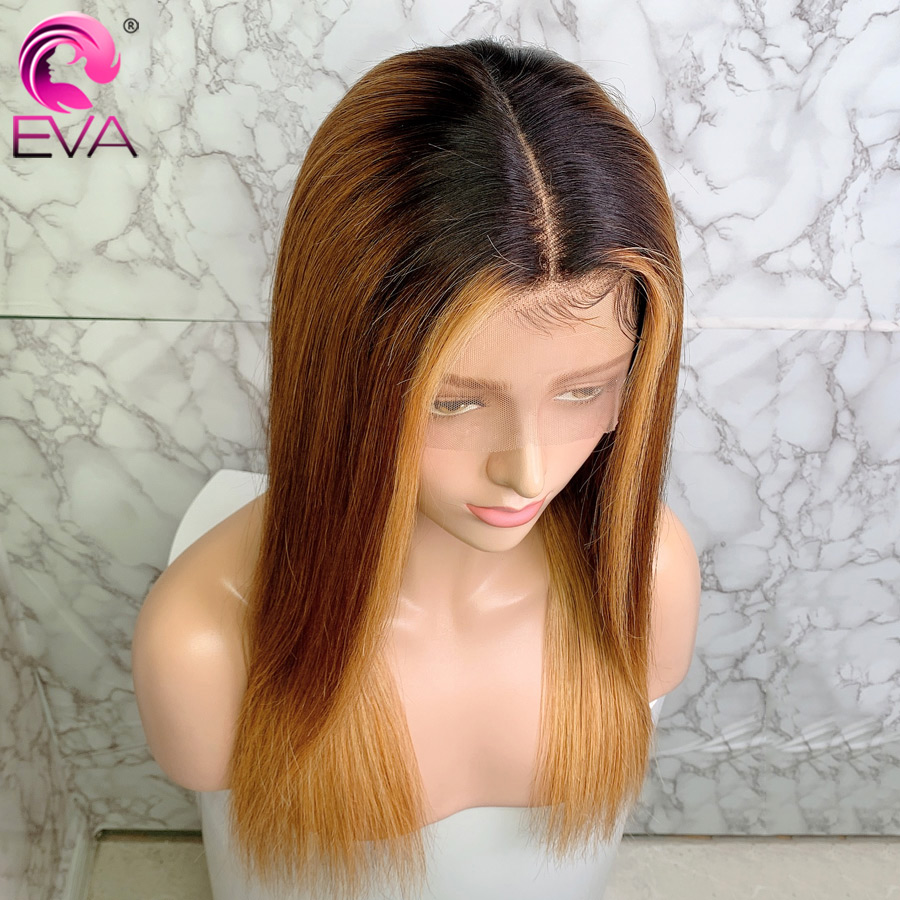 Eva Ombre Lace Front Human Hair Wigs Straight 13x6 Lace Front Wig Pre Plucked With Baby Hair Brazilian Remy Hair Colored Wigs