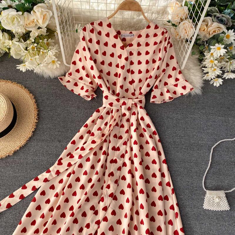 봄 여름 긴 주름 빨간 드레스 여성 2020 우아한 캐주얼 여성 사랑 v 넥 짧은 소매 허리 롱 스윙 드레스 vestidos