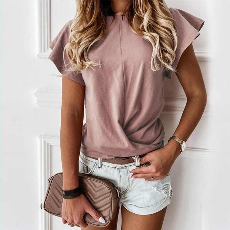 Katoen Vlinder Zoete Zomer Vrouwen T-shirt Korte Mouw Wit Ruche T-shirts Dame 2020 Mode Toevallige Zwarte T Shirts vrouwelijke