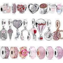 Refined 925 Sterling Silver Heart-shaped Pink Enamel Earphone Beaded Charm Fit Original Pandora Bracelet Ladies Gift Making
