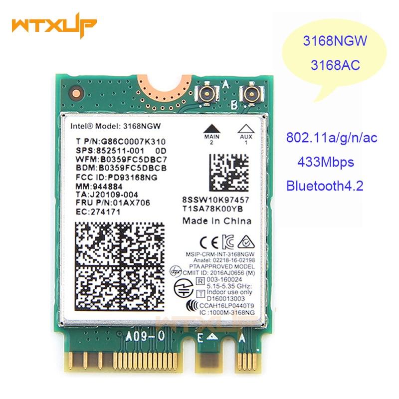 BT4.2 802.11AC NGFF HP 852511-001 WLAN Card Intel Dual Band 3168NGW WiFi M2