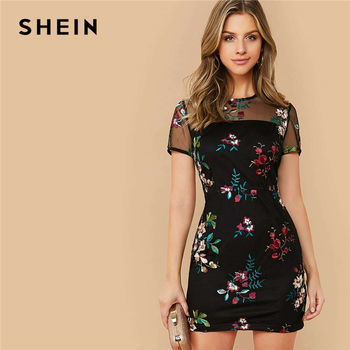 SHEIN Black Sheer Mesh Yoke Flower Embroidered Dress Women 2020 Summer Elegant Fitted High Waist Floral Short Dresses