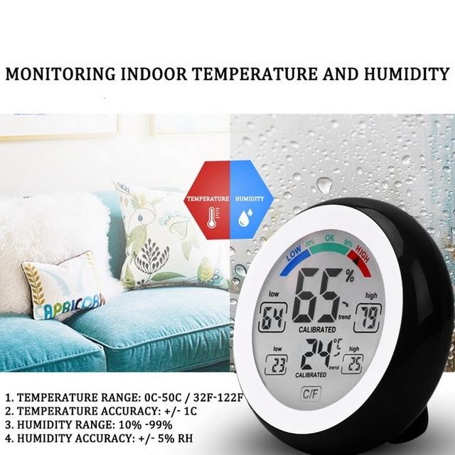 Junejour wielofunkcyjny lcd cyfrowy termometr higrometr C/F okrągły bezprzewodowy miernik wilgotności stacja pogodowa wskaźnik temperatury