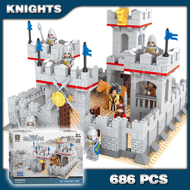 686pcs New Knights King's Castle Gate Guard Kingdom 27906 Model Building Blocks Children Toys Kids Gifts Compatible With Lago image
