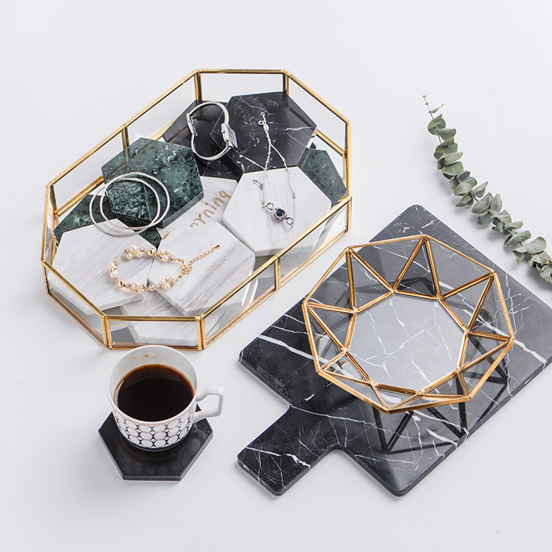 Golden Cosmetic Tray Polygon Glass Makeup Organizer Tray Dessert Snack Plate Home Decor Jewelry Display Stand