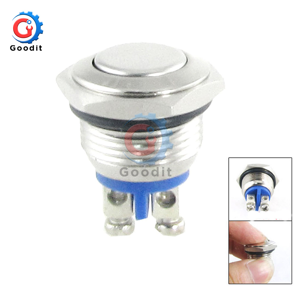 16mm Start Horn Button Momentary Stainless Steel Metal Push Button Switch Car Dash 12V Metallic Luster Metal Switch