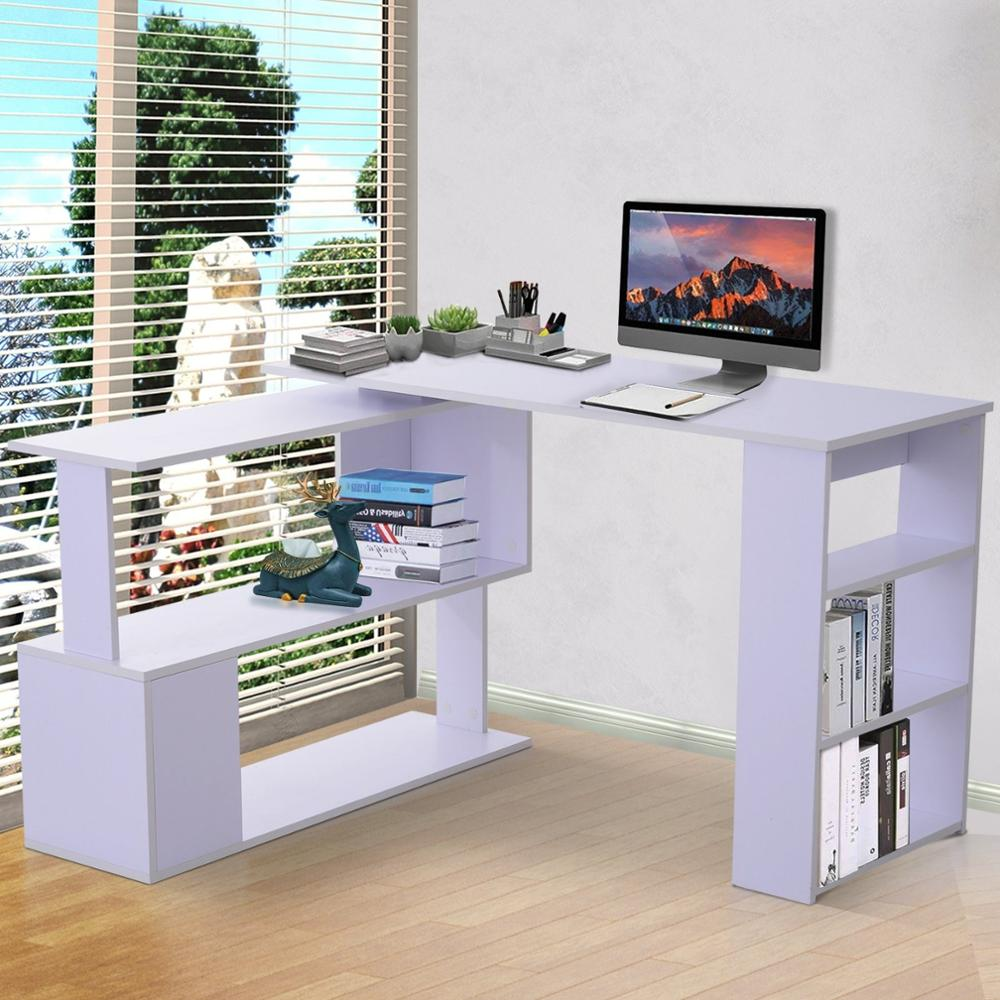 【USA Warehouse】360° Rotating Home Office Corner Desk And Storage Shelf Combo - White