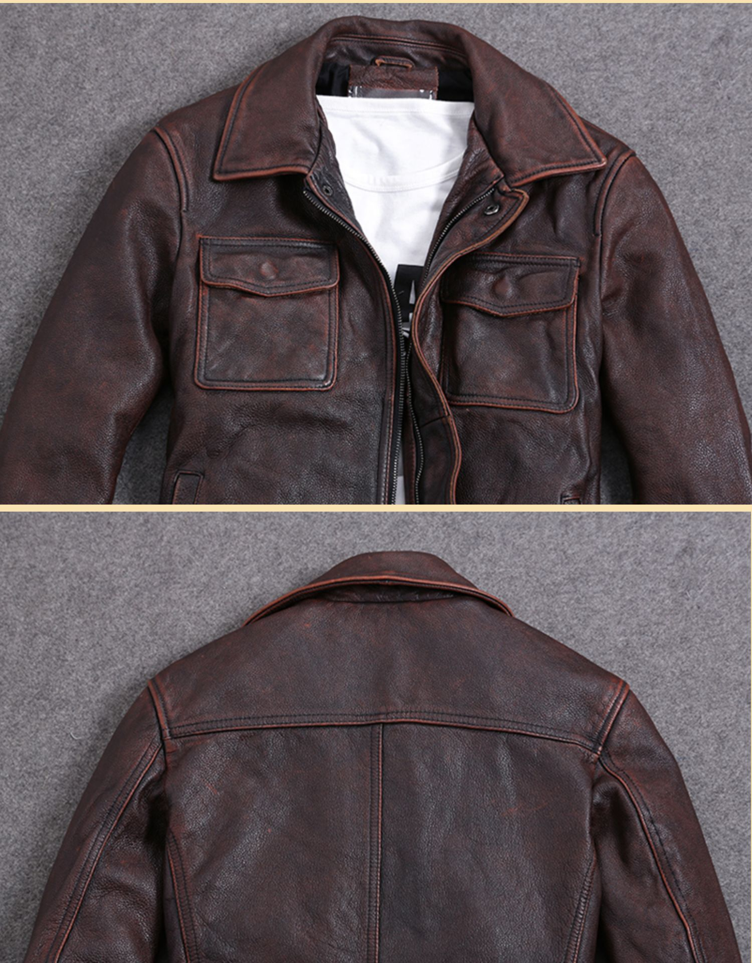 Hdbc293730e094aa7af1f5a421d05611f0 AYUNSUE Vintage Genuine Cow Leather Jacket Men Plus Size Cowhide Leather Coat Slim Short Jacket Veste Cuir Homme L-Z-14 YY1366