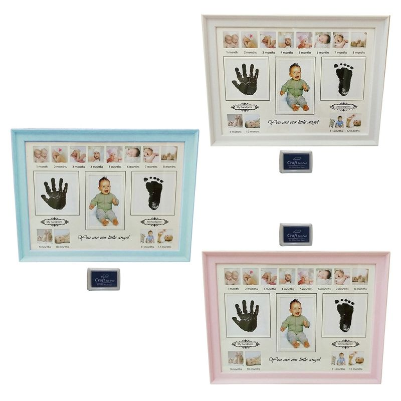 Baby Handprint Footprint <font><b>Photo</b></font> <font><b>Frame</b></font> with Stamp Ink Newborn Decor Gift Kids Imprint Hand Inkpad Souvenirs image