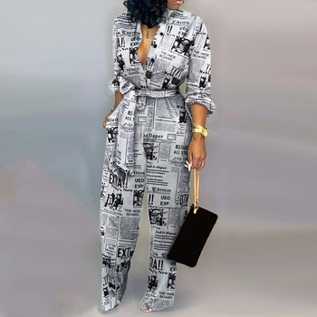 Women Autumn sexy Deep V Neck Long Sleeves Overalls Letter Leopard Print  Jumpsuit Elegant Camouflage Print one piece Rompers 4