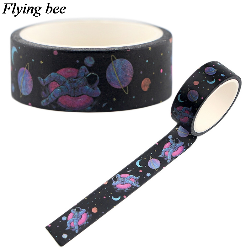 Flyingbee 15mmX5m Space Creative Washi Tape Paper DIY Decorative Astronaut Adhesive Tape Stationery Masking Tapes Supplies X0550