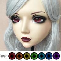 (DM062) Girl Sweet Resin Japanese Anime Kigurumi Mask Cosplay Lolita Crossdressing Lifelike BJD Masks Eye's Color for Choose