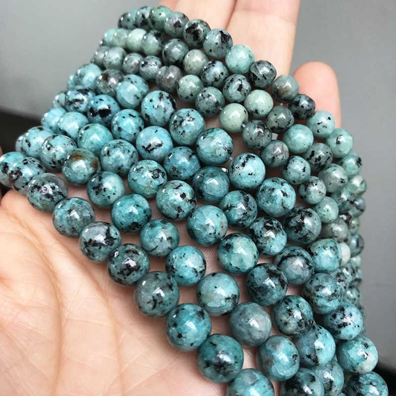 """Cuentas redondas de piedras de punto azul Natural cuentas sueltas para hacer joyas hilo 15 """"pulgadas 6/8/10mm para hacer pulseras Diy collar al por mayor"""
