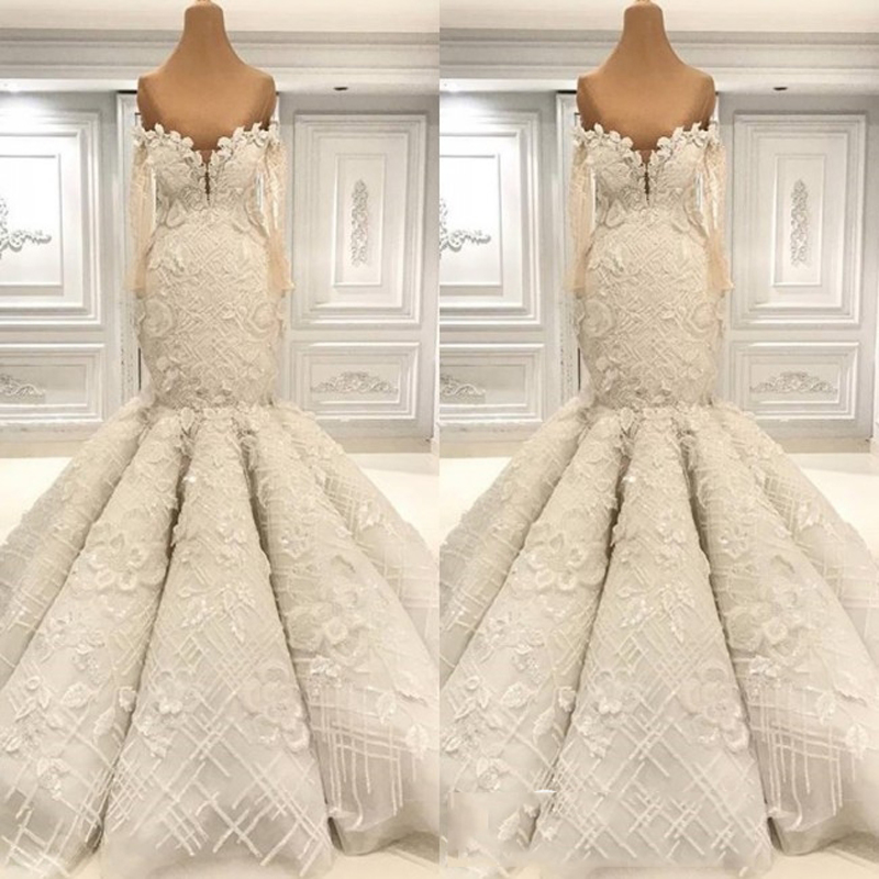 Image 2 - Dubai Luxury Lace Floral Mermaid Wedding Dresses 2019 Full Sleeves Off The Shoulder Elegant Bridal Gowns MariageWedding Dresses   -